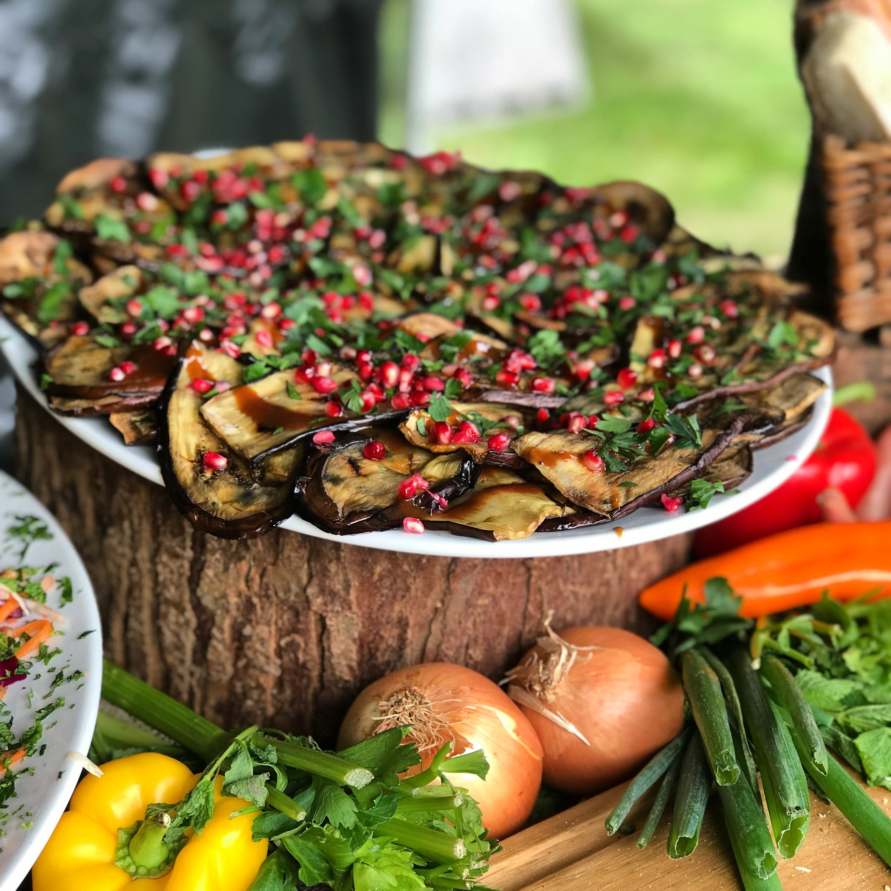 Aubergine tahini pomegranate salad - BBQ Catering City of London